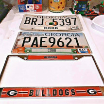 GA georgia peach state plates + UGA university of GA bulldogs license pl... - $0.98