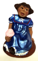 "RESIN-PECAN SHELL FIGURINE OF A GIRL EATING ICE CREAM, 4""T Black America... - $16.00"