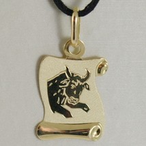 18K YELLOW GOLD ZODIAC SIGN MEDAL, TAURUS, PARCHMENT ENGRAVABLE MADE IN ITALY image 1