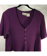 Kathie Lee Short Sleeve Button Down Sweater Top Size 18 Purple - $15.83