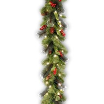 National Tree 9 Foot by 10 Inch Crestwood Spruce Garland with Silver Bristle, Co image 1