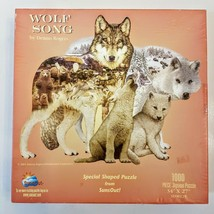 Suns Out Shaped Jigsaw Puzzle 1000 Piece Wolf Song 2001 Dennis Rogers Usa - As Is - $9.89