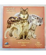 SunsOut SHAPED Jigsaw Puzzle 1000 piece WOLF SONG 2001 Dennis Rogers USA... - $9.89