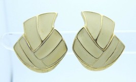 VTG TRIFARI Signed Gold Tone Abstract Ivory Colored Enameled Clip Earrings - $13.66