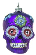 2.5 Inch Day of the Dead Sugar Skull Christmas/Everyday Ornament (Purple) - $14.80