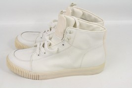 New Calvin Klein Jeans Men's White Upper Leather Ankle-High Fashion Snea... - $99.99