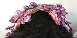 1950s Hat Headband Fuschia Floral Velvet Leaves - $38.00