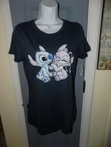 Disney LILO AND STITCH W/ ANGEL Blue Short Sleeve Shirt Size XL Women's NEW - $21.84