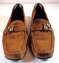 Stuart Weitzman Womens Brown Suede Loafers Size 9.5 M Embellished Shoes - $71.16
