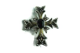 Vintage Jewelry Brooch Pin Monet Maltese Celtic Cross Faux Onyx  - $23.34