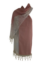 Cotton Blend and Lace Soft Drape Scarf - by Memories - Pink Cream - $12.00