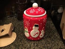 Hallmark Ceramic Christmas Cookie Jar Red Snowman Snowflakes New 2011 - $38.48