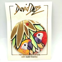 David Detz Hand Painted Brooch Colorful Parrots Rhinestones 22K Gold Ove... - $25.00