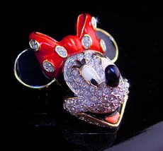 Large mouse Brooch - BIG minnie mouse pin - red enamel bow and rhineston... - $70.00