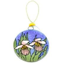 Showy Lady Slipper Flower Fused Art Glass Ornament Sun Catcher Handmade Ecuador