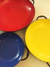 Vintage 70s set of 3 Emo Celje Enameled Nesting Sautee Pans image 2