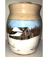 Vintage Marshall Pottery Small Butter Churn Hand Painted Winter Barn Signed - $93.49