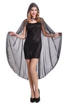 Womens Spiderweb Cape Silver Sparkle Glitter Black Spider Web Costume~Ho... - $14.99