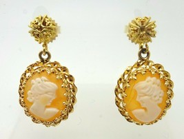 Vintage 14k Yellow Gold Genuine Natural Shell Cameo Drop Earrings (#J3506) - $295.00