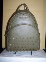 Michael Kors Abbey Studded Leather BackPack Crossbody Med Olive NWT $398 - $141.52