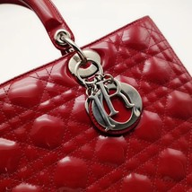 AUTH Christian Dior Lady Dior Large Red Patent Leather Cannage Shoulder Tote Bag image 9