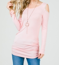 Pink Cold Shoulder Top, Pink Ruched Side Top, Lace Trim Cold Shoulder Top