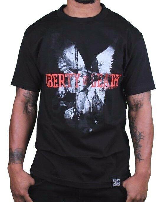 Dissizit Noir Hommes Liberté Ou Mort Patrick Henry La Nappe T-Shirt USA Made Nwt