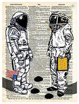 Art N Wordz Bee Humankind Astronaut Dictionary Page Pop Art Wall or Desk... - $24.99