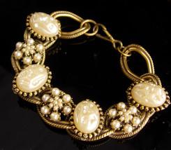 """LARGE Baroque pearl bracelet - vintage big link 8"""" bracelet - 1st 3rd 30... - $125.00"""