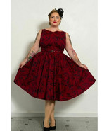 18 RETRO PINUP CHIC COUTURE RED FLORAL SWING SKIRT DRESS LIKE TORRID PLU... - $37.00