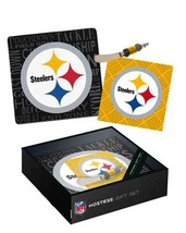 NFL It's A Party Glass Cheese Tray Gift Set Pittsburgh Steelers - $19.79