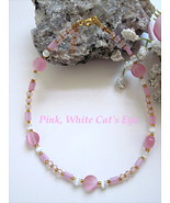 "PINK, WHITE CAT'S EYE GOLDPLATED ANKLE BRACELET - SIZE 9 7/8""  - $8.00"