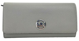 Michael Kors Fulton Ash Grey Large Purse Wallet Pebbled Leather RRP £180 - $221.01