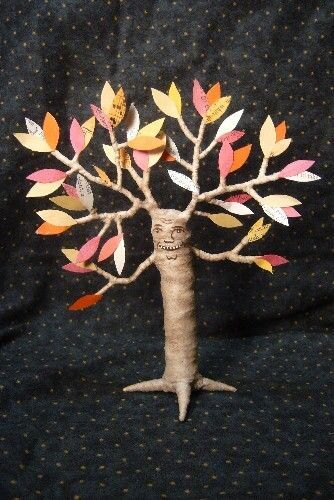 Vintage inspired Halloween Fall Tree Man spun cotton