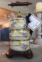 MCKENZIE-CHILDS Buttercup Enamel Lunch Tiffin Carrier Yellow Floral NEW ... - $212.85