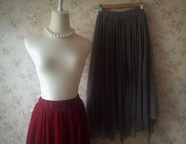Women Gray Irregular Midi Tulle Skirt Gray Bridesmaid Midi Tulle Skirt Plus Size image 8