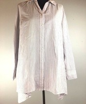 Lane Bryant Button Tunic Top 14 16 White Purple Stripe Long Tab Sleeve Oversize - $24.74