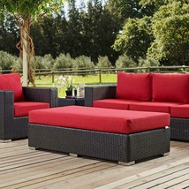 Outdoor Patio Ottoman Wicker Fabric Rectangle Espresso Finish with Red C... - $355.51