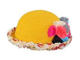PANDA SUPERSTORE Lovely Summer Straw Beach Rose Yellow Girl Hat