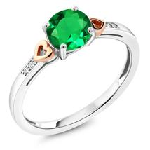 925 Sterling Silver and 10K Rose Gold Ring Round Green Nano Emerald with... - $134.38