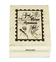 God Bless America Postage Rubber Mounted on Wood Stamp image 1