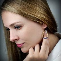 Lapis earrings,gold earrings,gold hook earrings,dangle earrings - $59.00+