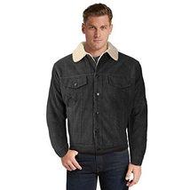 vkwear Men's Classic Button Up Fur Lined Corduroy Sherpa Trucker Jacket (Medium,