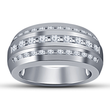 White Gold Plated 925 Silver Round Cut Diamond Men's Band Engagement Pin... - $89.97
