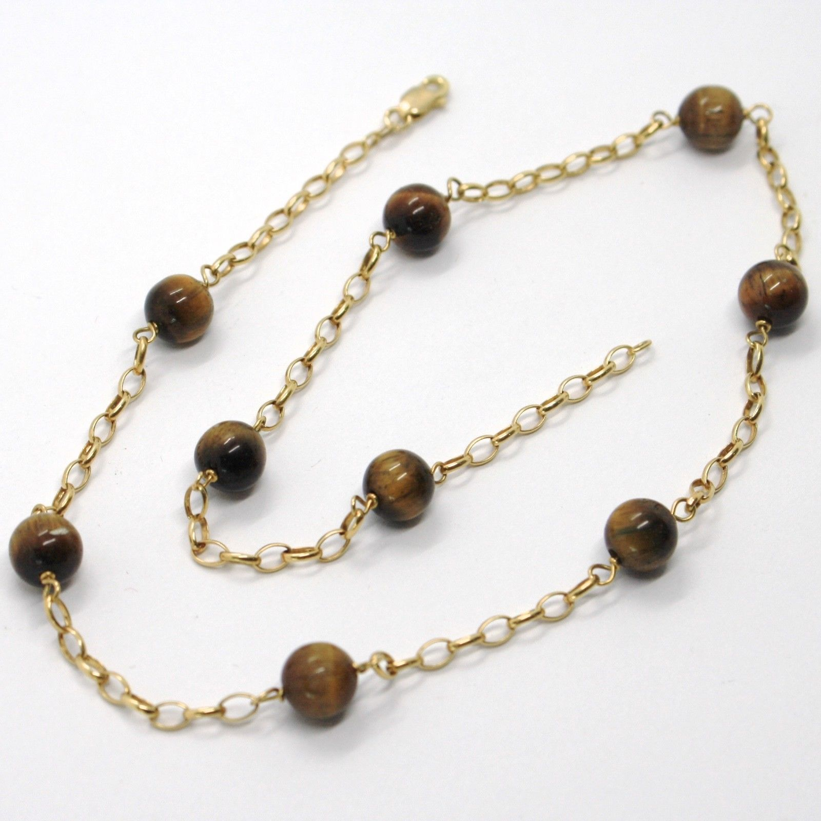 18K YELLOW GOLD NECKLACE OVAL ROLO CHAIN ALTERNATE WITH TIGER'S EYE BALLS 8 MM