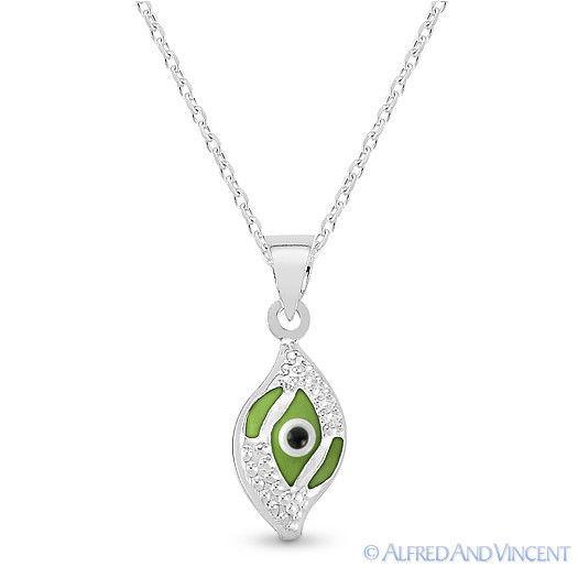 Evil Eye Glass Bead Greek Turkish Nazar Hamsa Pendant Sterling Silver Necklace image 8