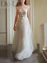 DuLin white v neck lace tulle custom wedding dress - $380.00