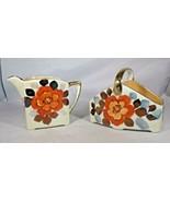 """Creamer & Sugar Set Lusterware Hand - Painted Red Flowers 3.25"""" Japan Vi... - $9.41"""