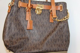 MICHAEL Michael Kors Hamilton North South Large Signature Tote Bag Handbag Brown - $232.02