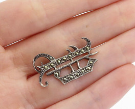925 Sterling Silver - Vintage Marcasite Decorated Petite Brooch Pin - BP... - $23.32